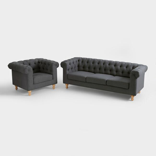 Charcoal Gray Quentin Chesterfield Seating Collection