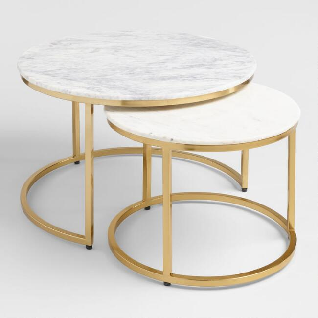 Marble ayva nesting coffee tables set of 2 world market for White nesting coffee table
