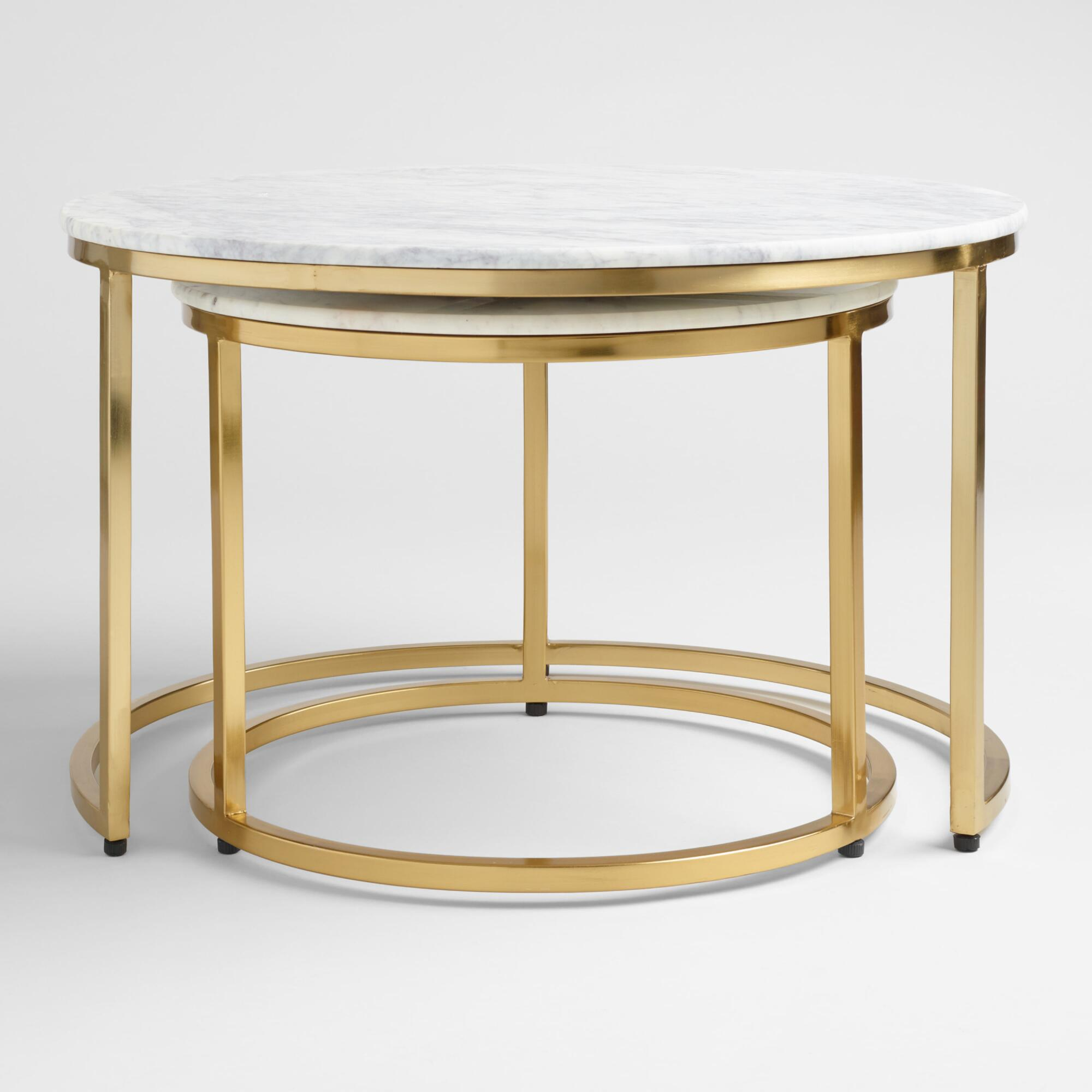 Marble Ayva Nesting Coffee Tables Set Of World Market - Marble and brass end table