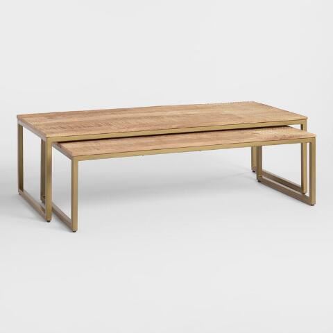 Mango Wood Lara Nesting Coffee Tables Set Of 2