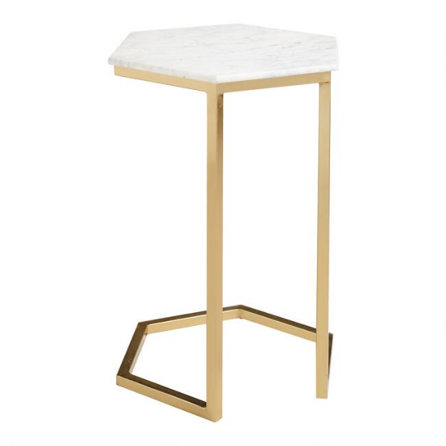 WM Marble And Gold Margaux Laptop Table
