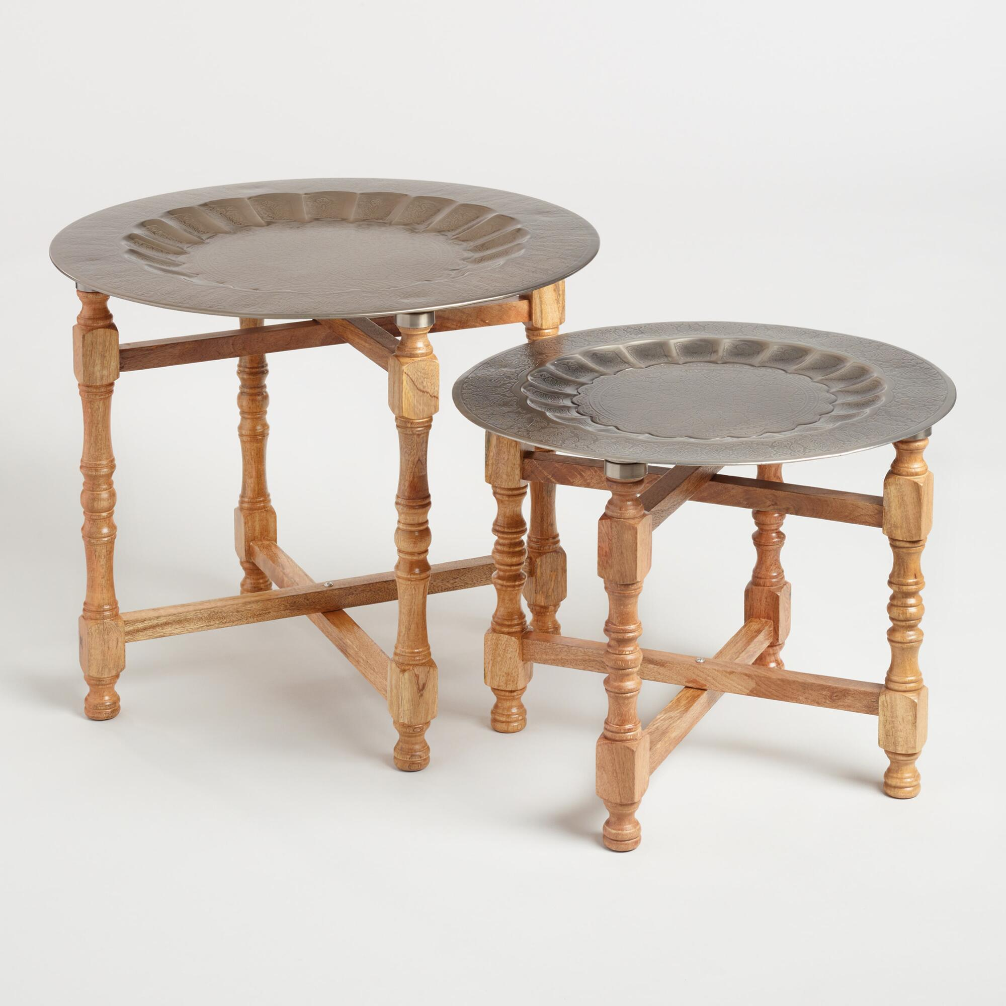 Metal and Wood Arya Table Set of 2: Brown/Silver by World Market