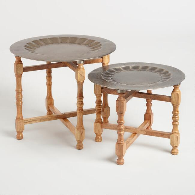 Metal And Wood Arya Table Set Of World Market - Discount end table sets