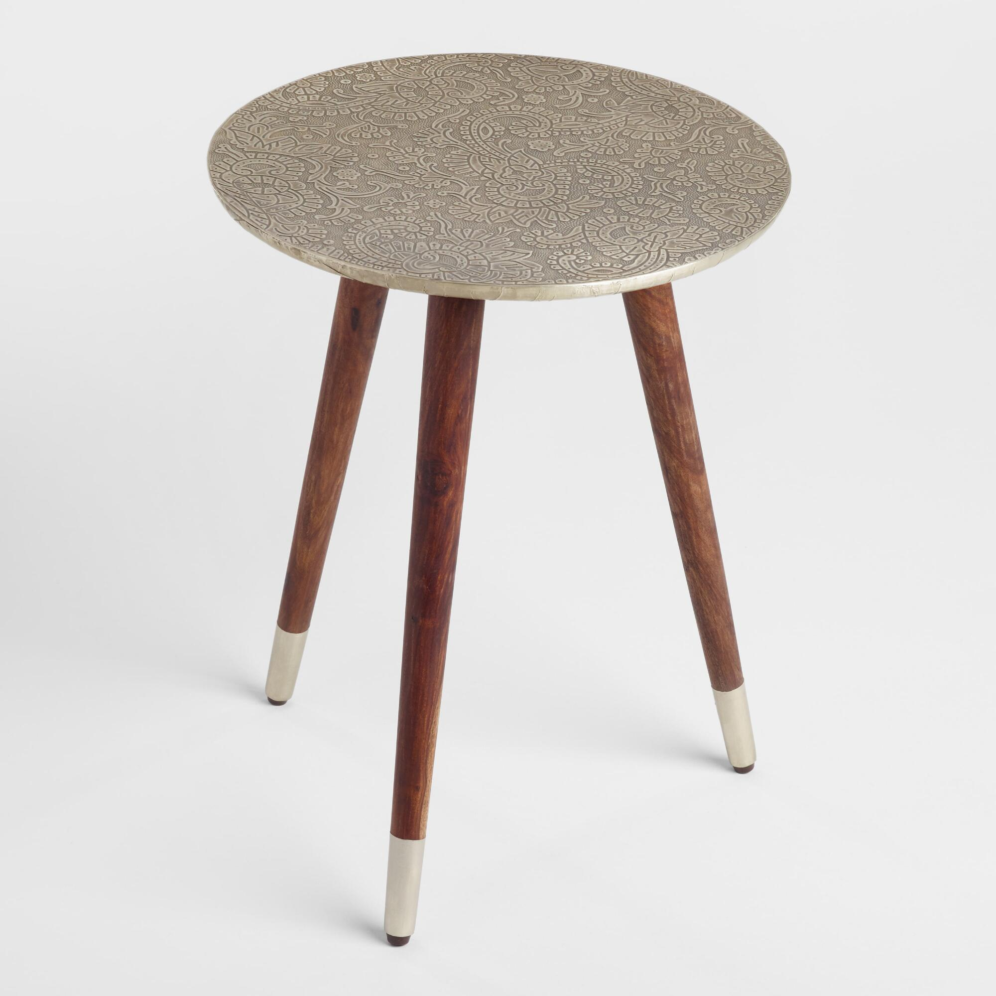 round living room chairs. Embossed Azaria Round Accent Table Living Room Furniture  World Market