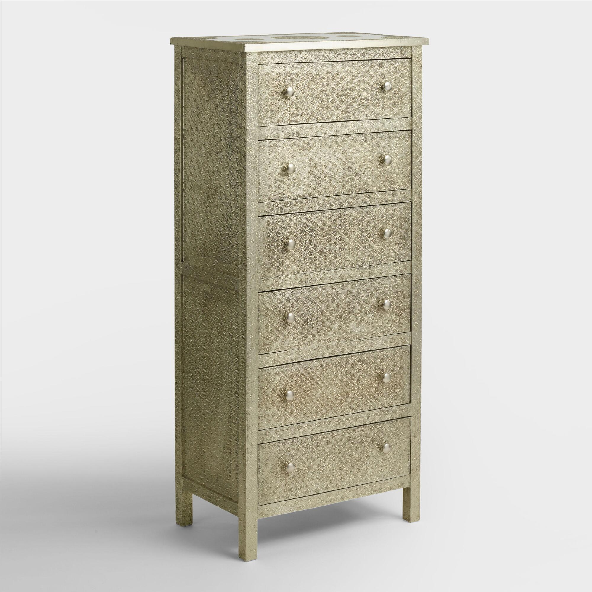bedroom storage furniture. Embossed Metal Kiran Tall Dresser Dressers  Chests and Bedroom Storage World Market