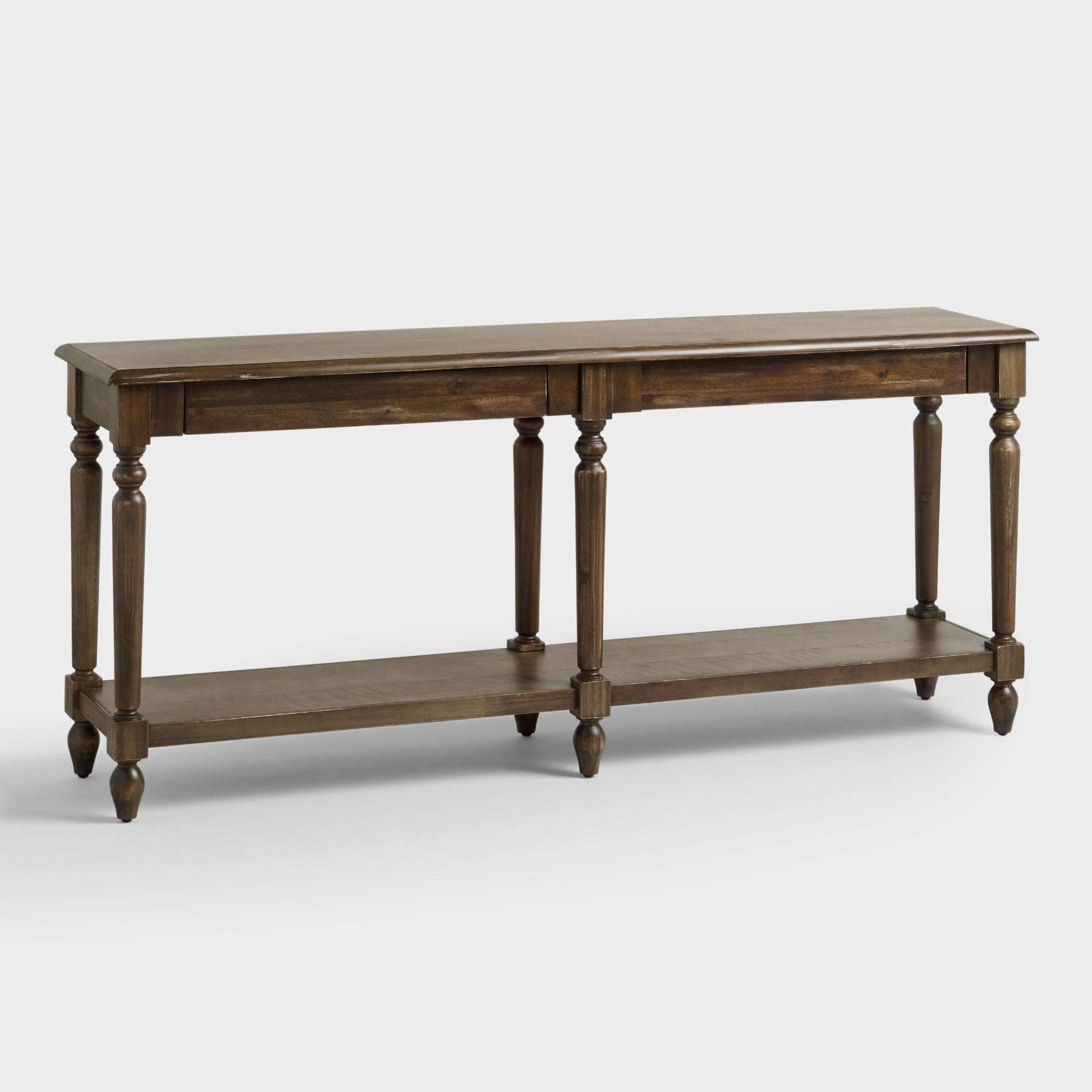 Folding Foyer Bench : World market sofa table wood and metal aiden console