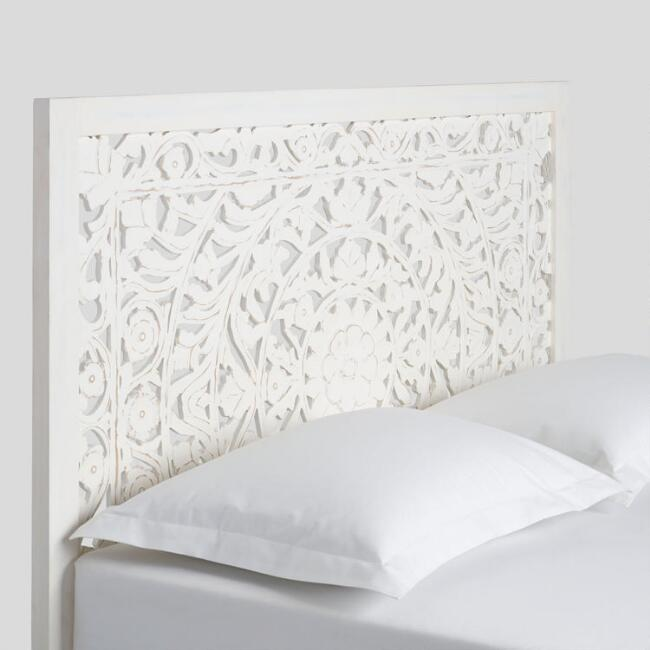 whitewash carved zaria headboard world market. Black Bedroom Furniture Sets. Home Design Ideas