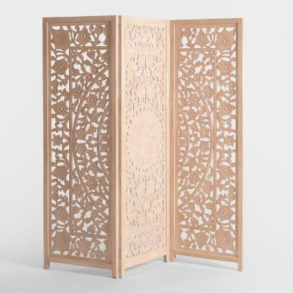 Hand Carved Wood Abstract Rigby Screen World Market