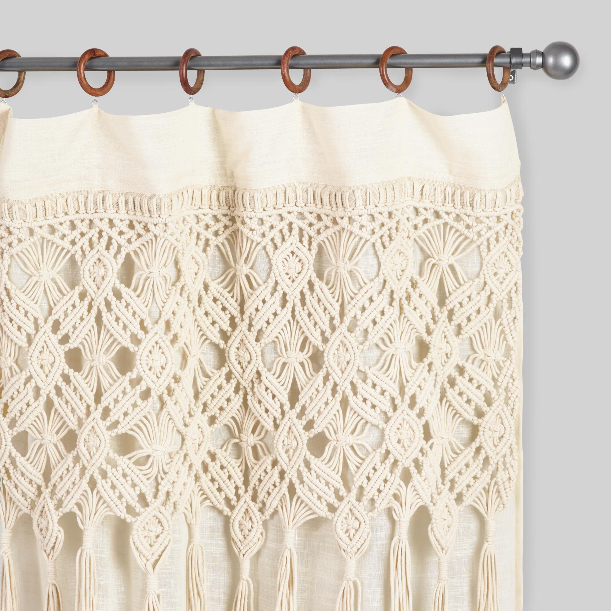 Macrame Curtains With Removable Wood Rings Set Of 2