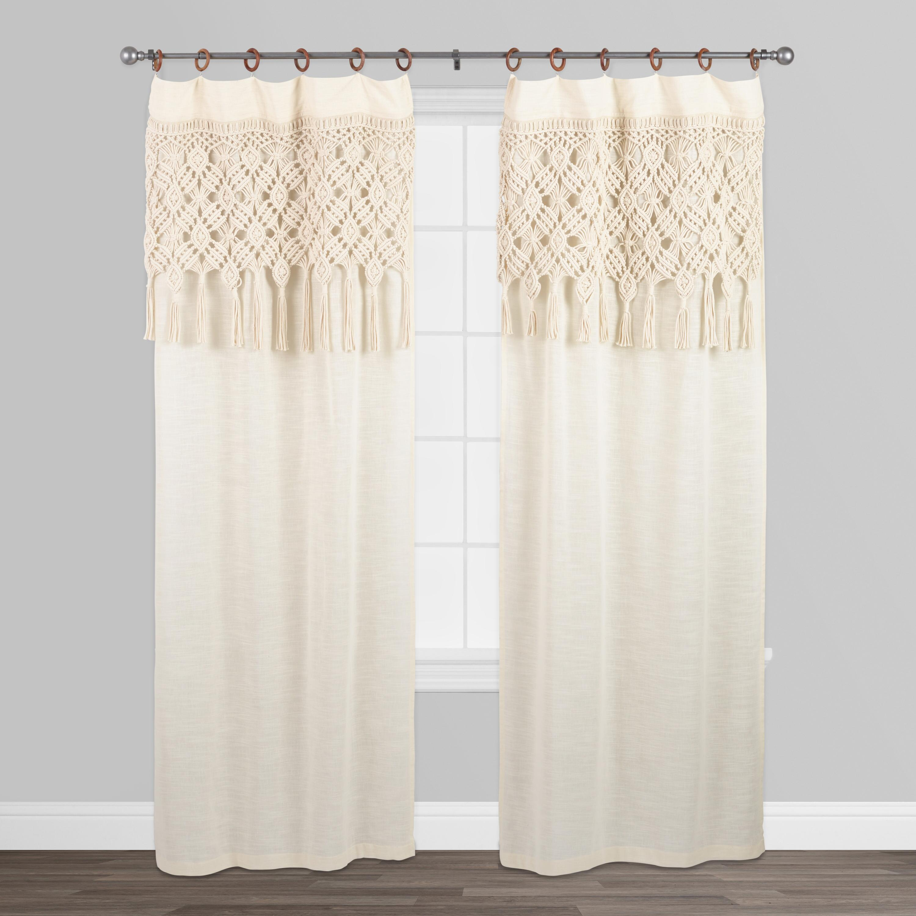Macrame Curtains With Removable Wood Rings Set Of 2: White