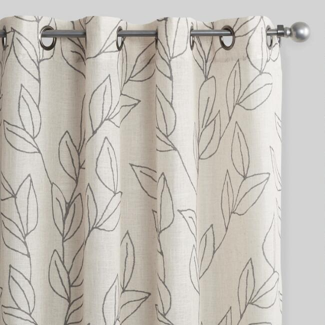Scribble Leaves Grommet Top Curtains Set of 2