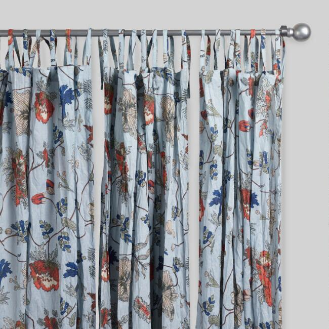 Blue Floral Crinkle Voile Curtains Set of 2