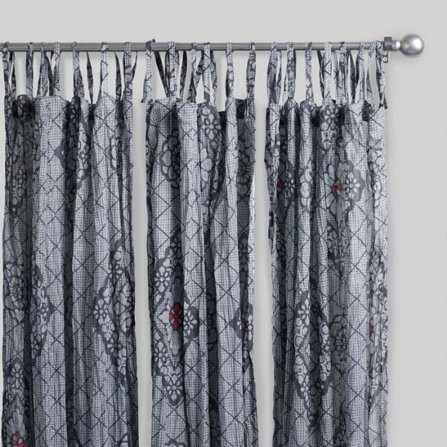 Gray Geometric Samode Crinkle Voile Curtains Set of 2