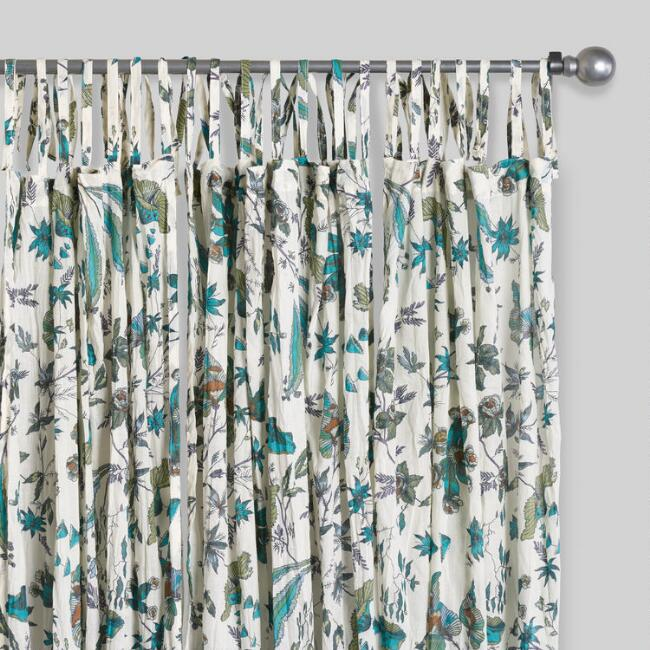 Green And Turquoise Blossom Crinkle Voile Curtains Set Of 2 World Market