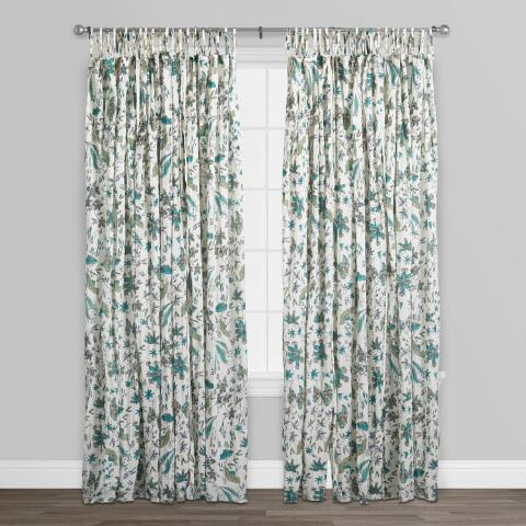 Green And Turquoise Blossom Crinkle Voile Curtains Set Of 2