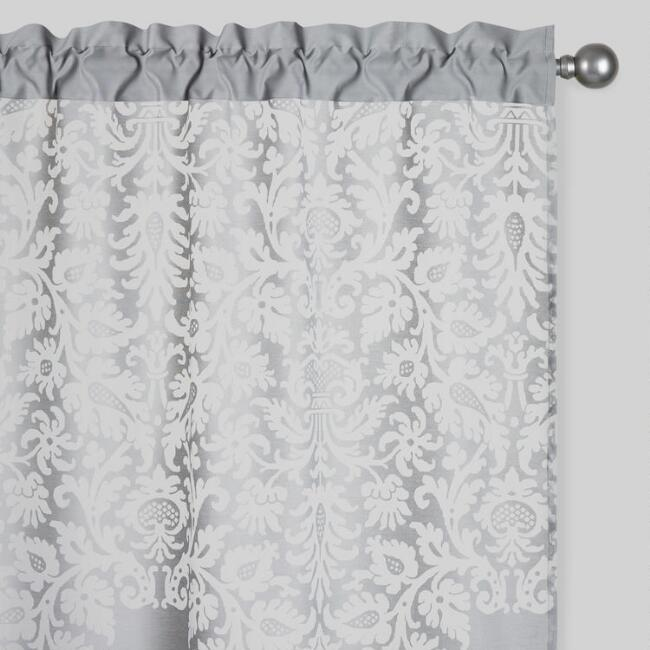 custom jacquard valance gray luxury curtains p damask polyester