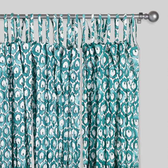 Teal Green Tribal Crinkle Voile Curtains Set of 2