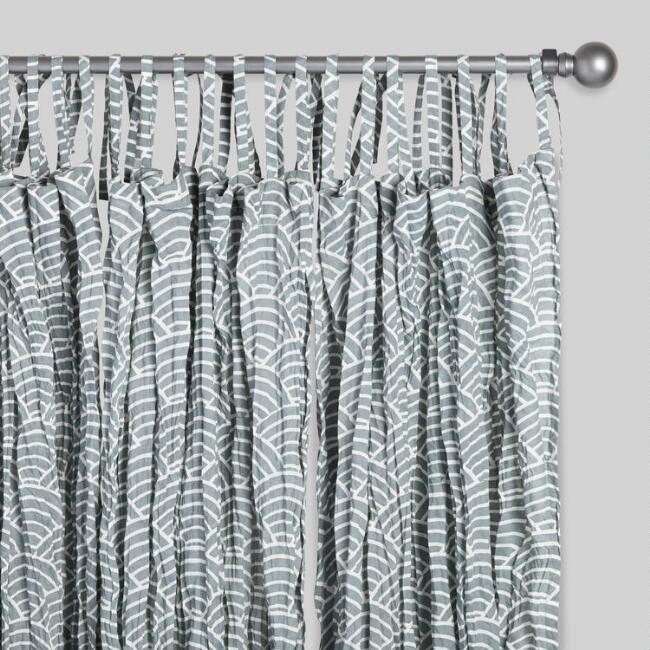 Gray Wave Crinkle Voile Curtains Set of 2