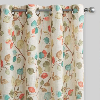 Autumn Leaves Openweave Grommet Top Curtains Set of