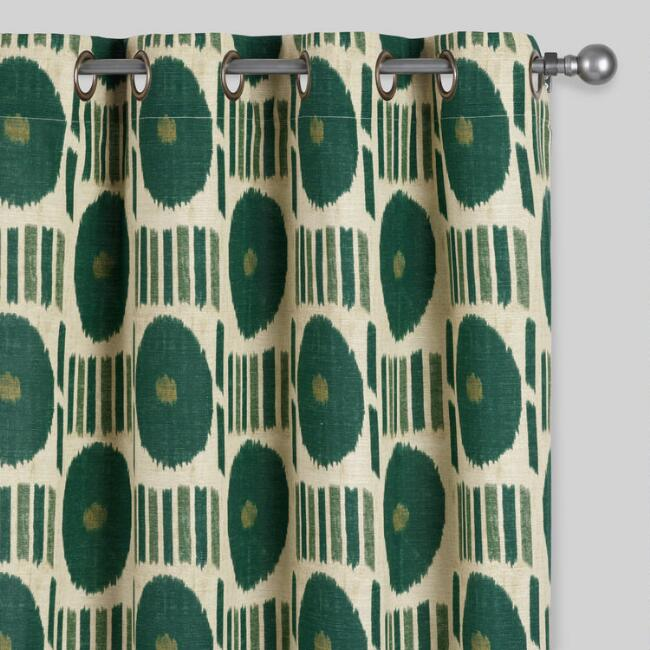 Evergreen Ikat Dot Grommet Top Curtains Set of 2