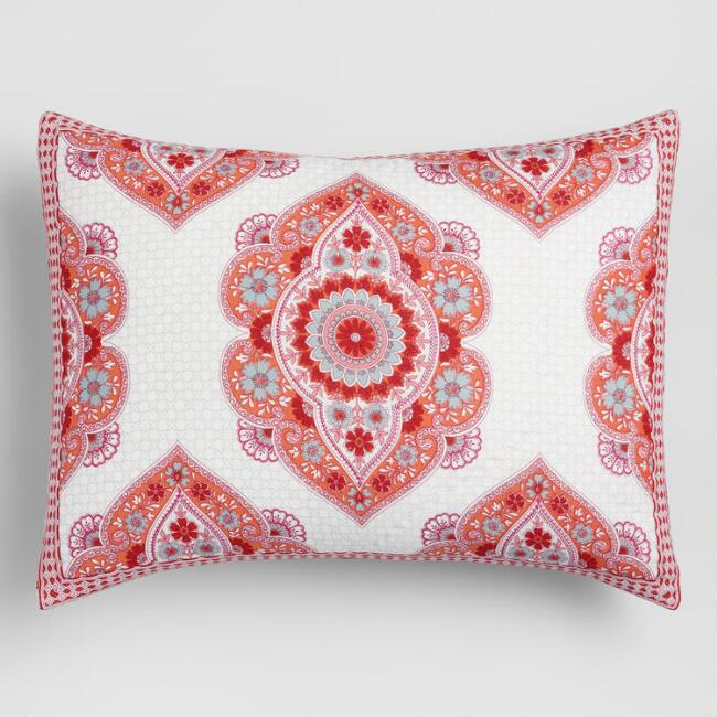Coral Floral Medallion Amrita Pillow Shams Set of 2