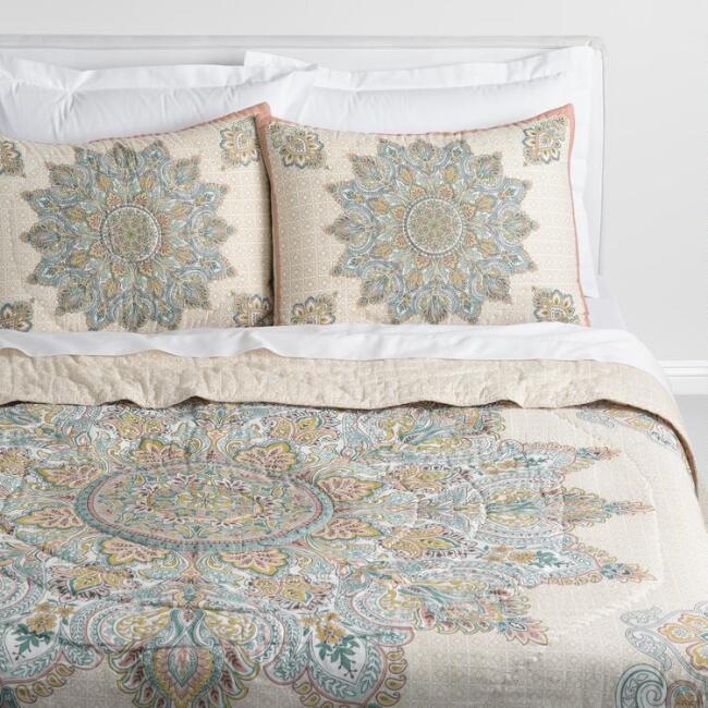 Blush and Blue Medallion Kalini Reversible Quilt