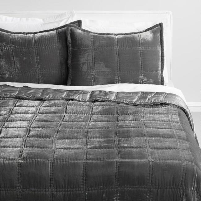 Gray Luxe Velvet Bedding Collection