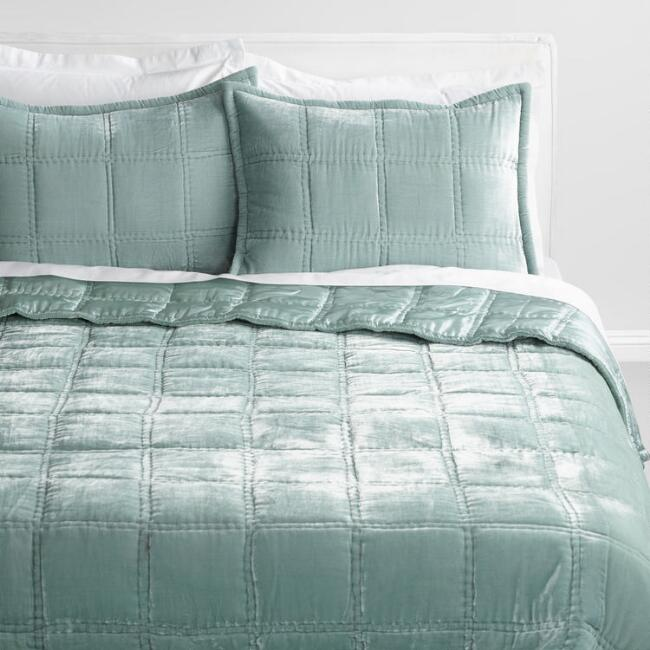 Green Jadeite Luxe Velvet Bedding Collection