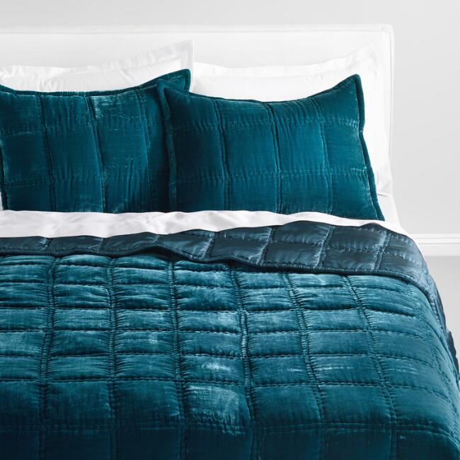 Atlantic Blue Luxe Velvet Bedding Collection