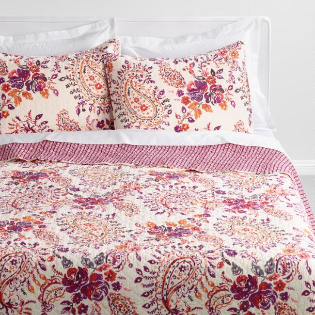 Purple and Ivory Paisley Elizabeth Bedding Collection