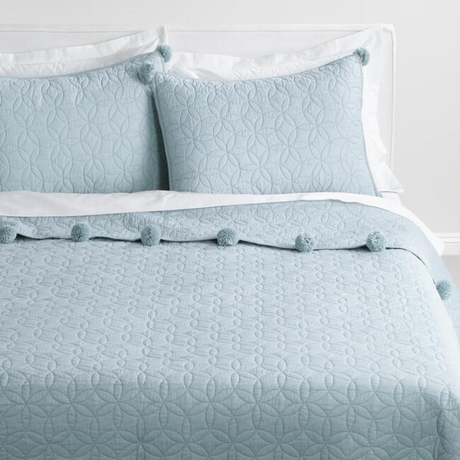 Pale Blue Pom Pom Cameron Quilt | World Market : pale blue quilt cover - Adamdwight.com