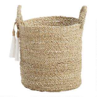 small seagrass delilah tote basket with tassels - Decorative Storage Baskets