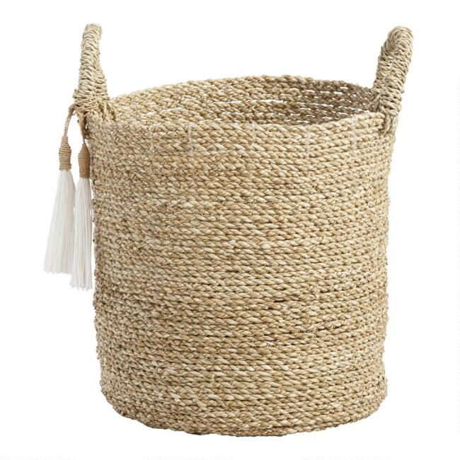 Small Seagrass Delilah Tote Basket With Tassels World Market