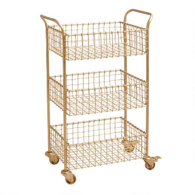Gold Wire Basket 3 Tier Antonia Rolling Cart
