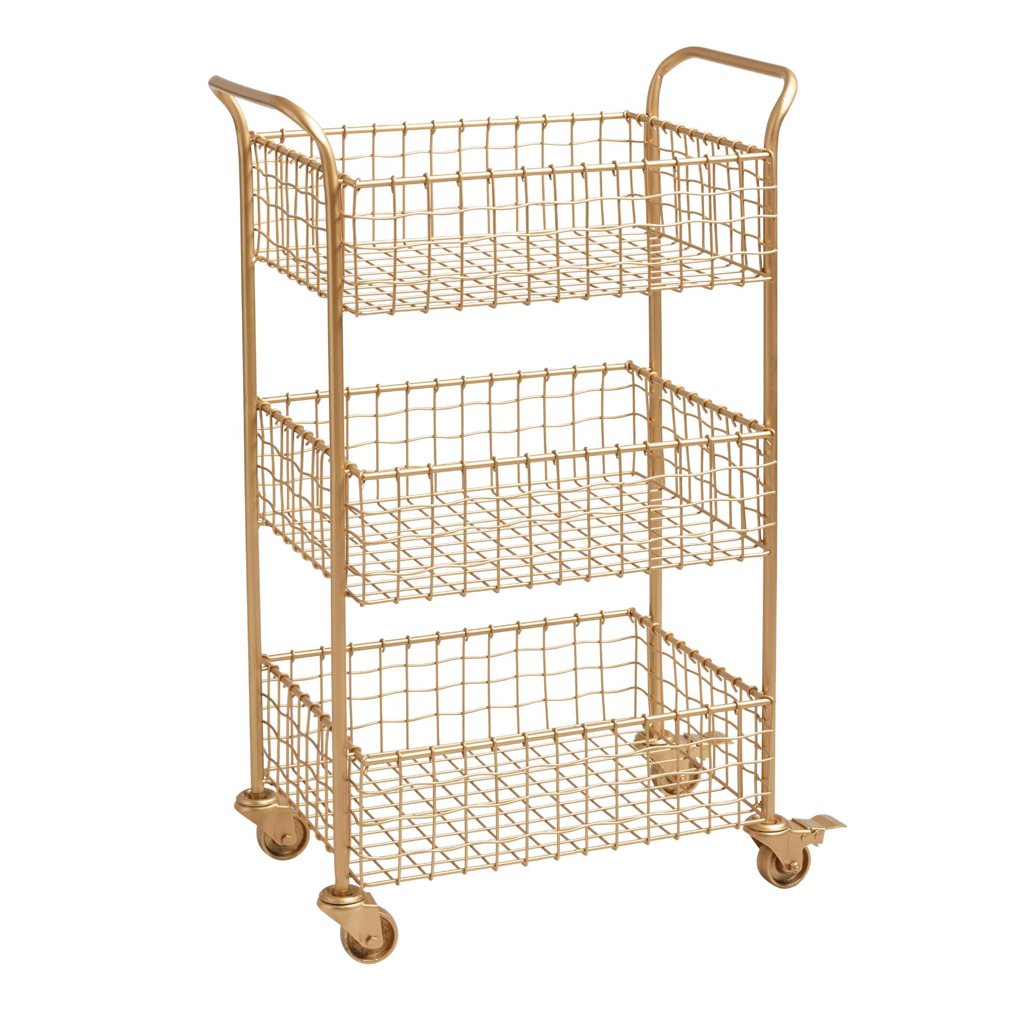 Gold Wire Antonia Rolling Cart