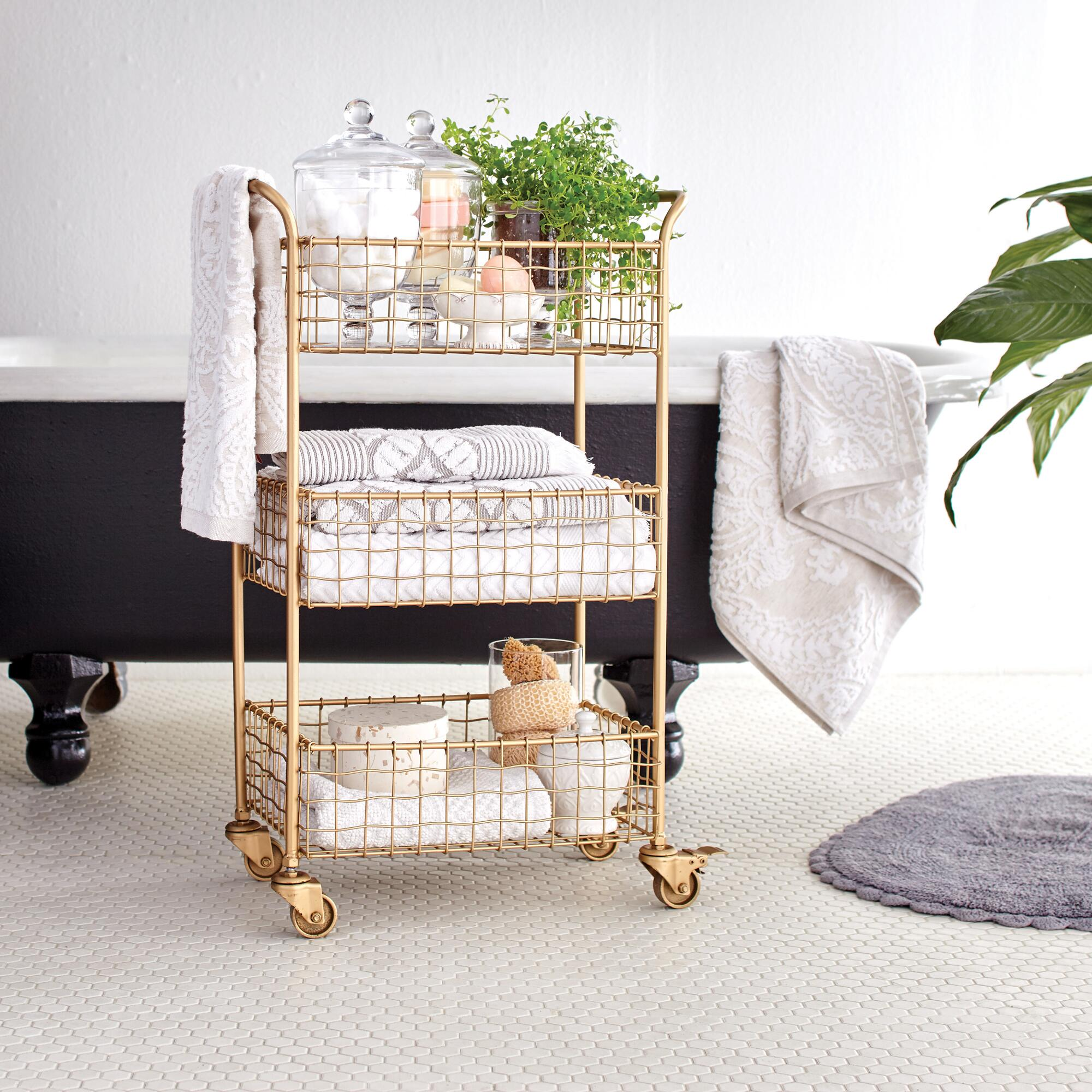 Gold Wire Antonia Rolling Cart   World Market
