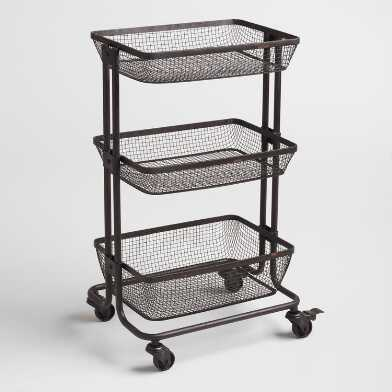 Espresso Metal 3 Tier Evan Rolling Cart