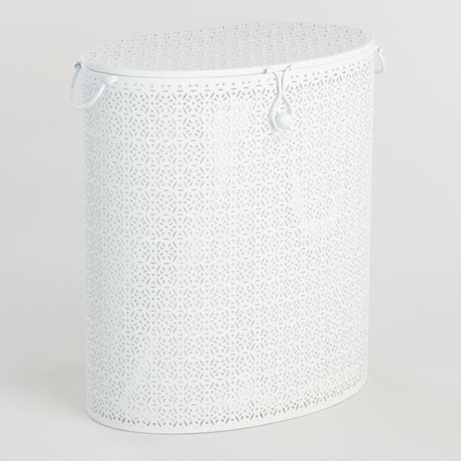 White Pierced Metal Hannah Hamper