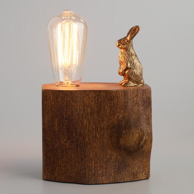 Brass rabbit on tree block table lamp world market aloadofball Image collections