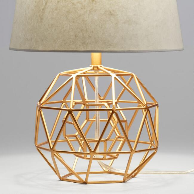 Gold Geo Globe Accent Lamp Base - Accent Lighting - Unique Table Lamps Online World Market