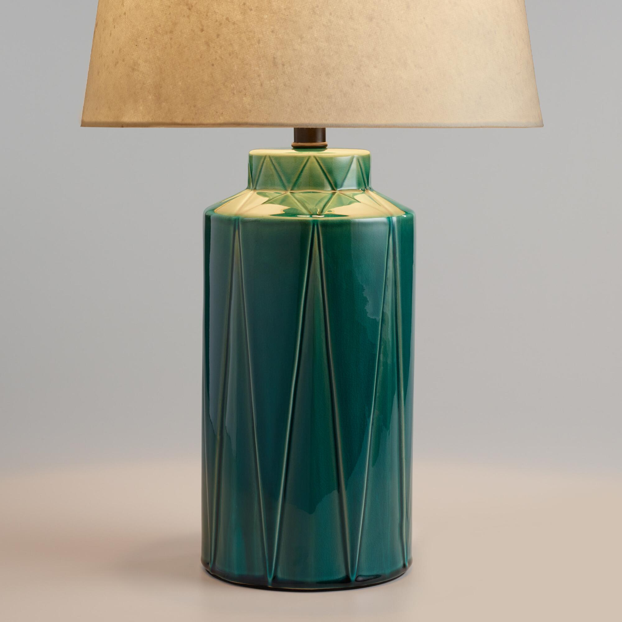 Table top lamps unique lamp shades world market green reactive glaze vera table lamp base geotapseo Images