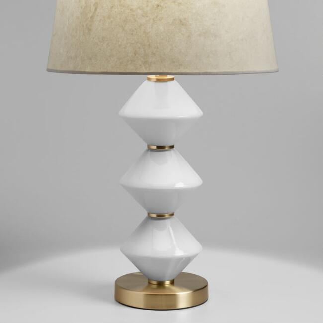 geo milk glass and gold zoey table lamp base world market. Black Bedroom Furniture Sets. Home Design Ideas