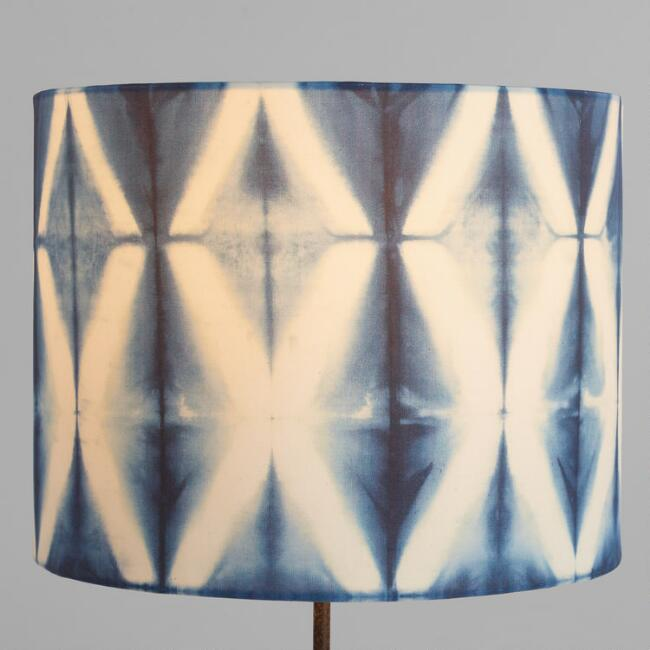 Indigo Shibori Print Drum Table Lamp Shade