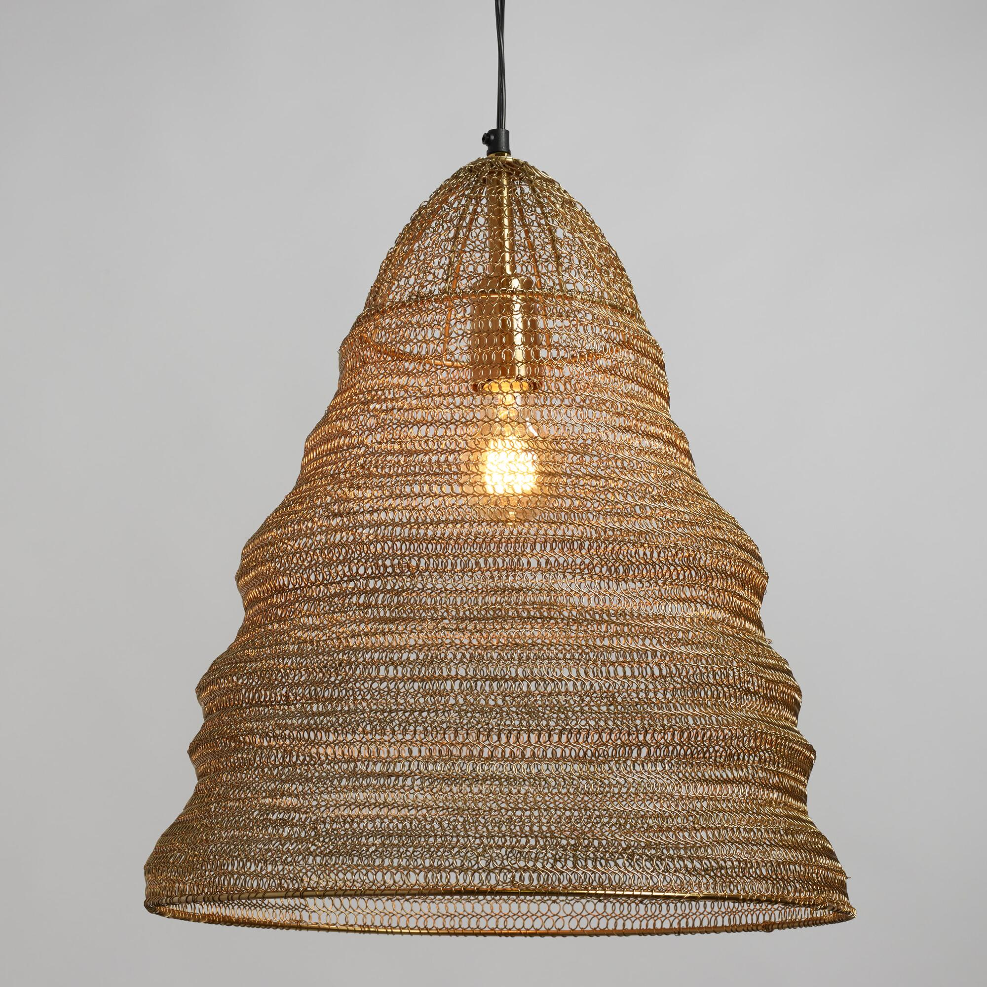 Pendant lighting light fixtures chandeliers world market gold wire ring kiran pendant shade arubaitofo Gallery