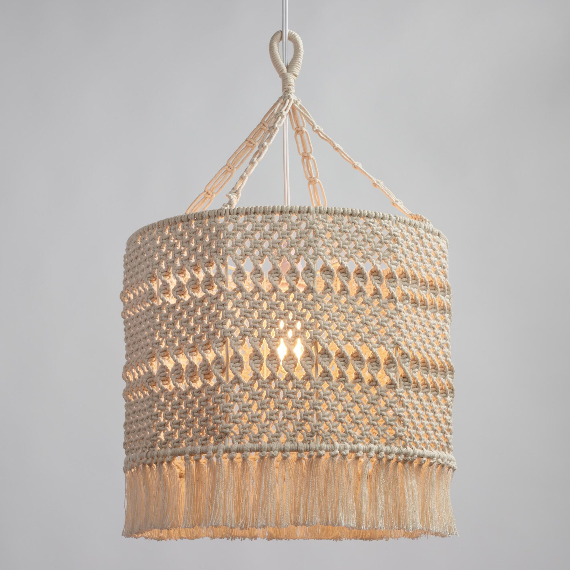 Pendant lighting light fixtures chandeliers world market natural macrame deja drum pendant shade arubaitofo Gallery