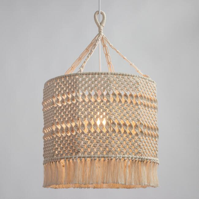 Natural Macrame Deja Drum Pendant Lamp World Market