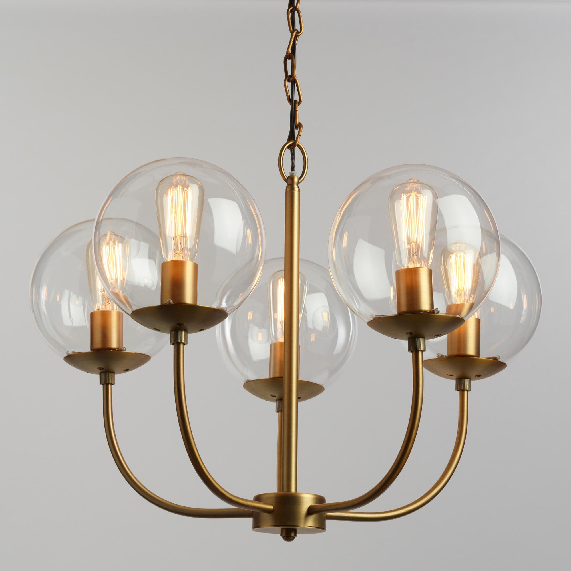 Pendant lighting light fixtures chandeliers world market antique brass and glass globe 5 light alessa chandelier arubaitofo Gallery