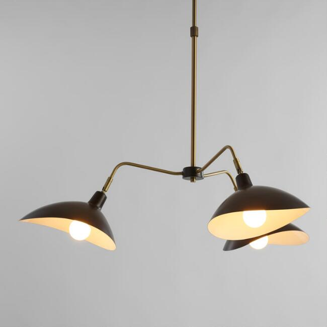 Matte Black and Brass 3 Arm Chandelier