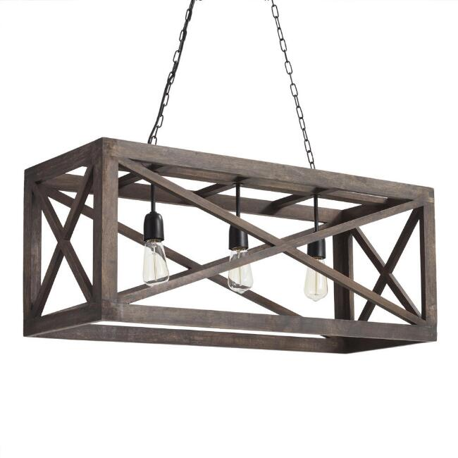 Rectangular Gray Wood 3 Light Valencia Chandelier | World Market