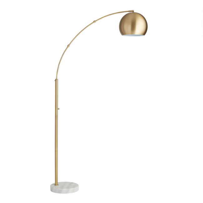 Brass arc and white marble hayden floor lamp world market for Brass floor lamp india